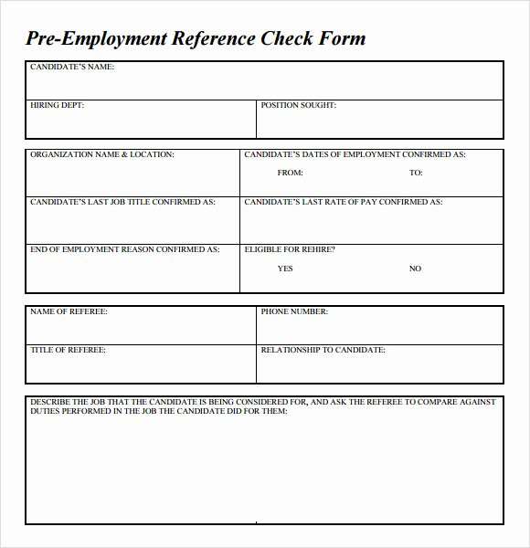 Reference Check form Template Best Of Sample Reference Check Template 14 Free Documents In
