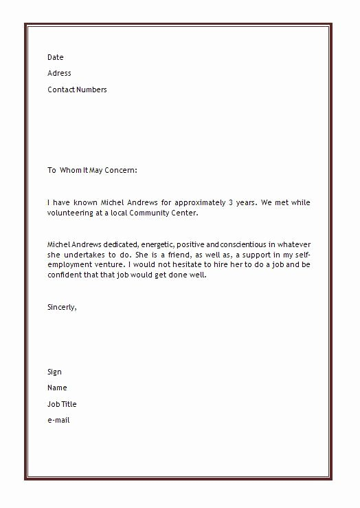 Reference Letter Templates Word Elegant Personal Letter Of Re Mendation Template