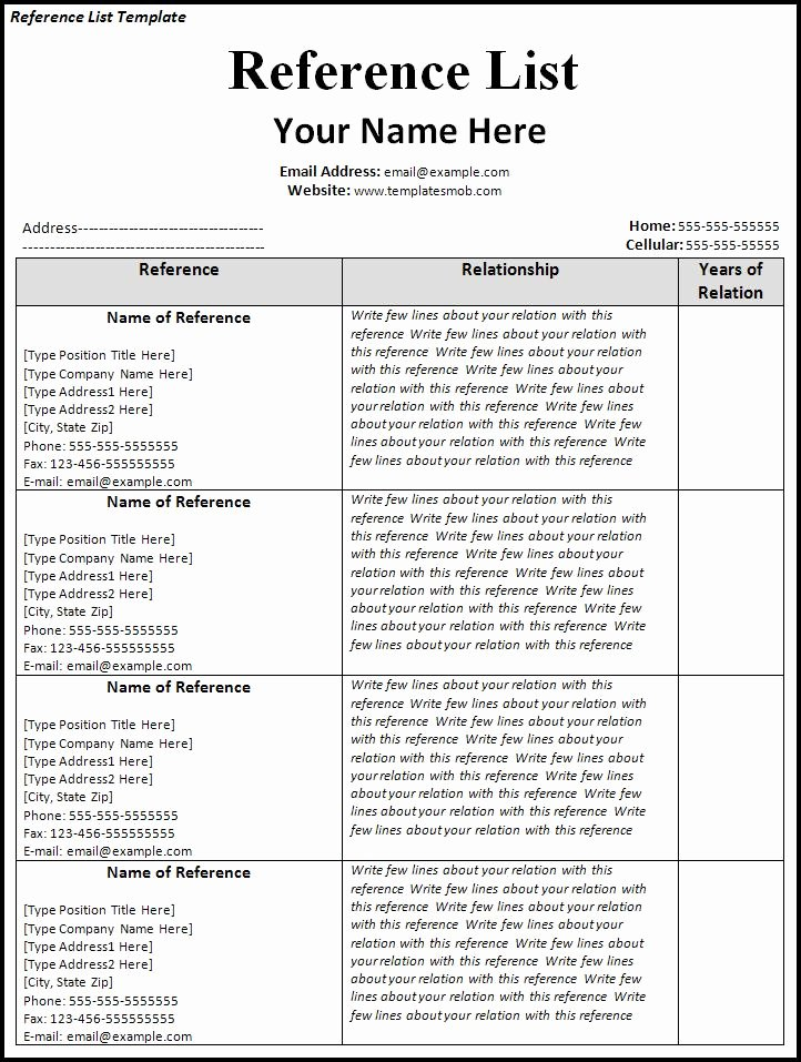 Reference List Template Word Best Of List References Template
