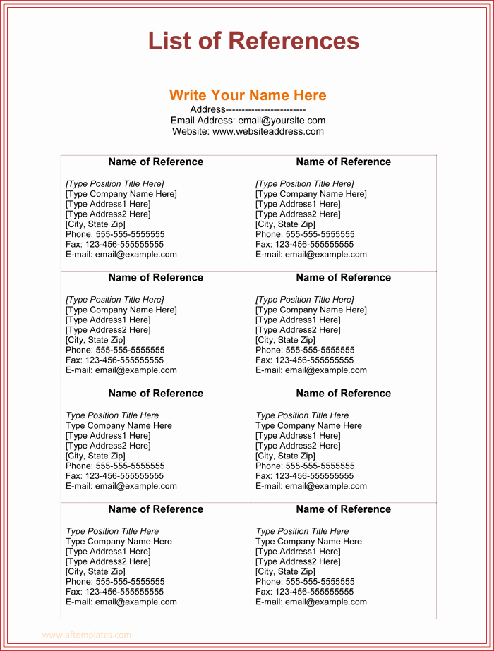 Reference List Template Word Inspirational List References Template