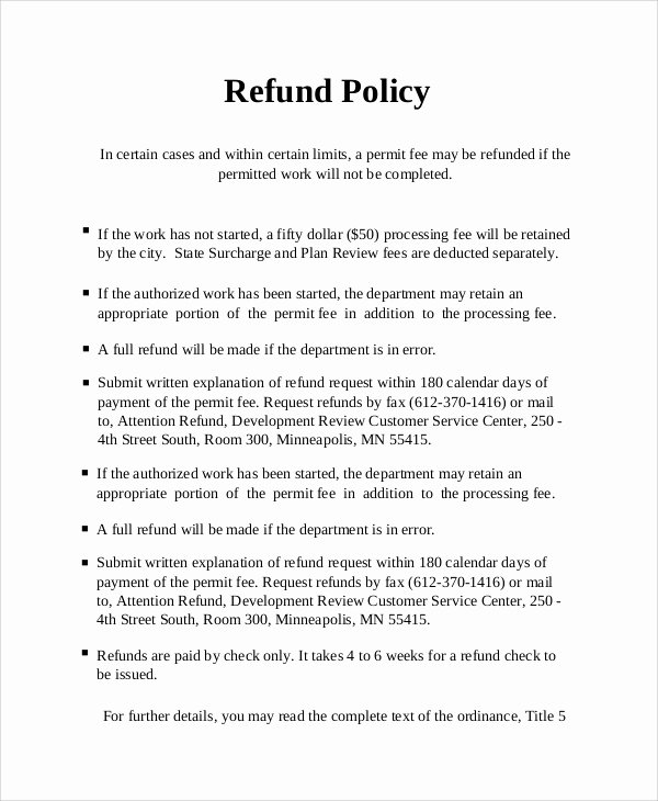 Refund Policy Template for Services Awesome Sample Refund Policy 8 Documents In Word Pdf