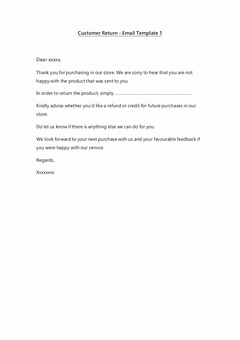 Refund Policy Template for Services Inspirational Email Templates Customer Service