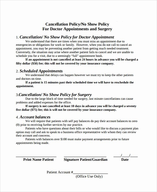 Refund Policy Template for Services New 9 Cancellation Policy Templates Pdf
