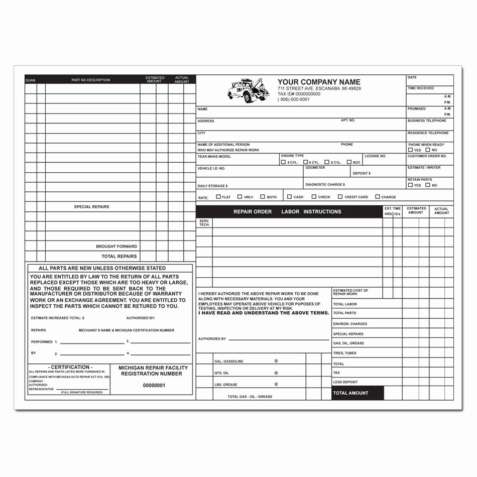 Refund Policy Template for Services Unique Tire Shop Invoice form