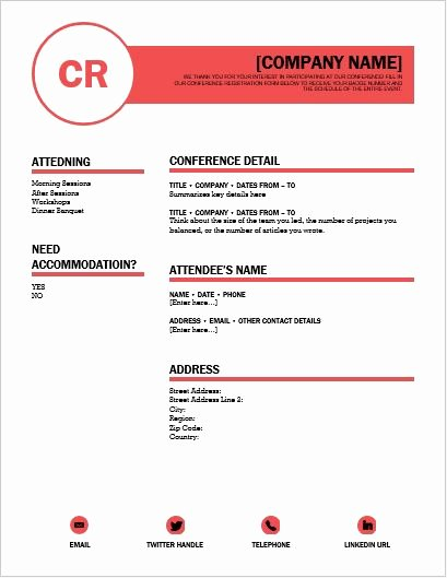 Registration forms Template Word Beautiful Conference Registration form Template for Word