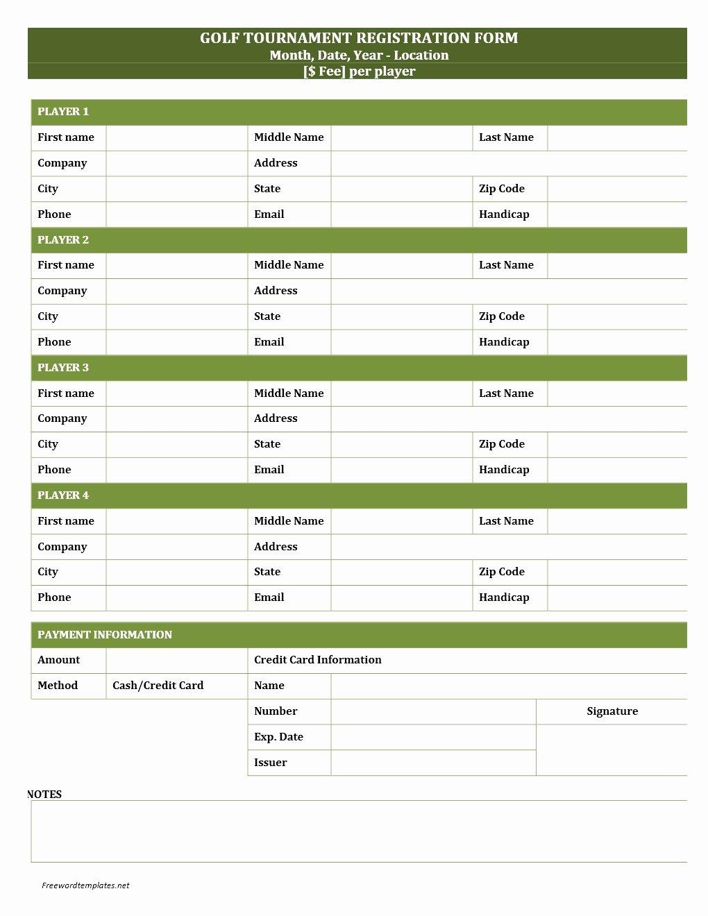 Registration forms Template Word Elegant Golf tournament Registration form