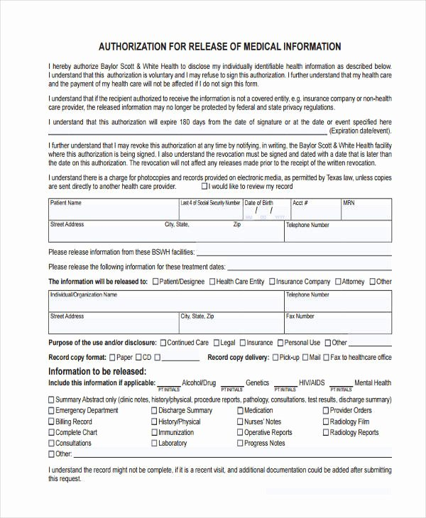 general release of information form template