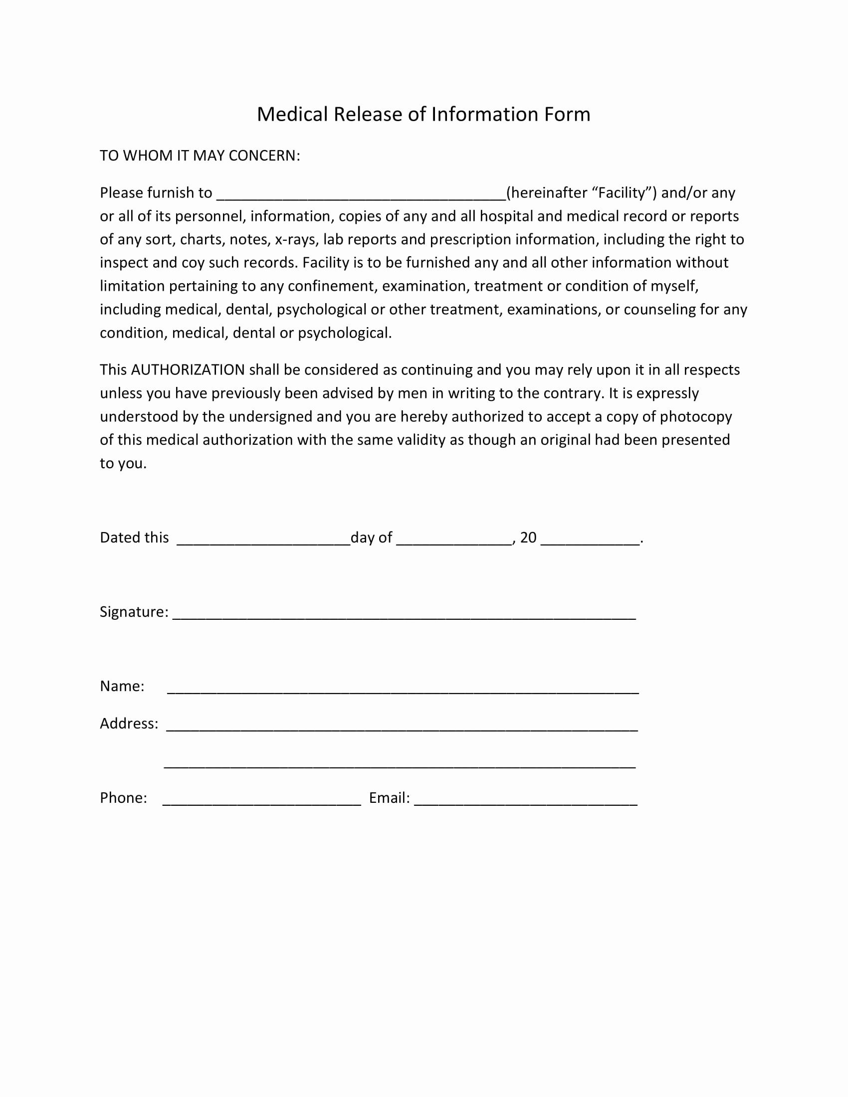 Release Of Information form Template Beautiful Medical Release forms