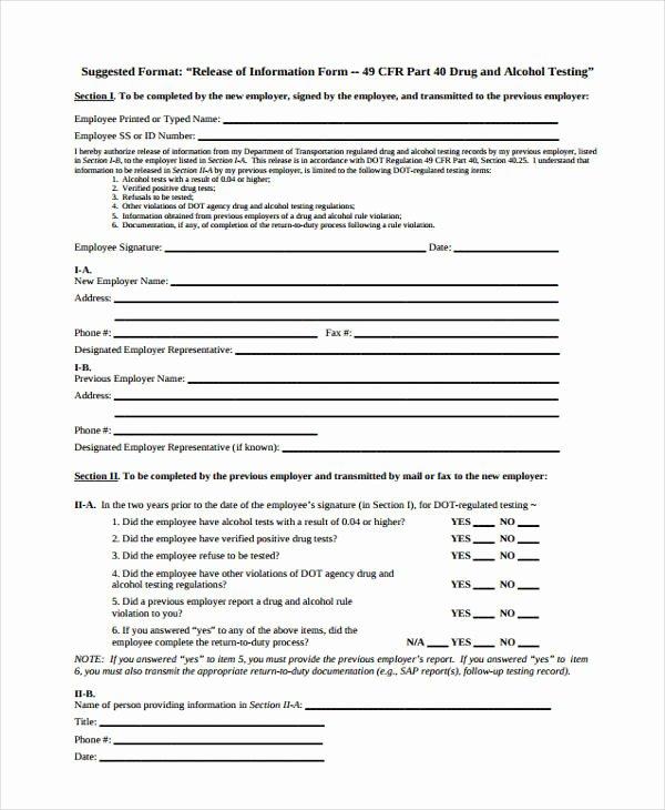 Release Of Information form Template Elegant Free 16 General Release Of Information form Templates