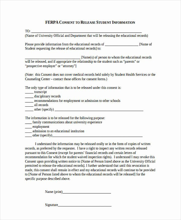 Release Of Information form Template Fresh Free 16 General Release Of Information form Templates