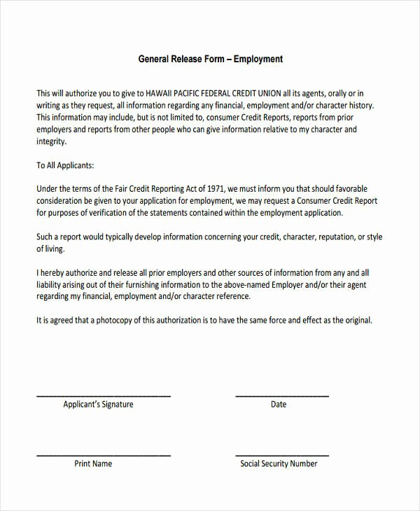 Release Of Information form Template Fresh General Release Information form