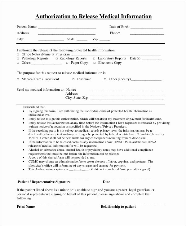 Release Of Information form Template Lovely Sample Medical Release form 9 Examples In Pdf