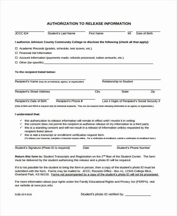 Release Of Information form Template Luxury Free 38 Release form Templates