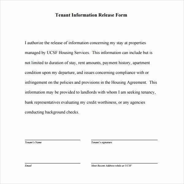 Release Of Information form Template New 11 Tenant Information forms Pdf Word