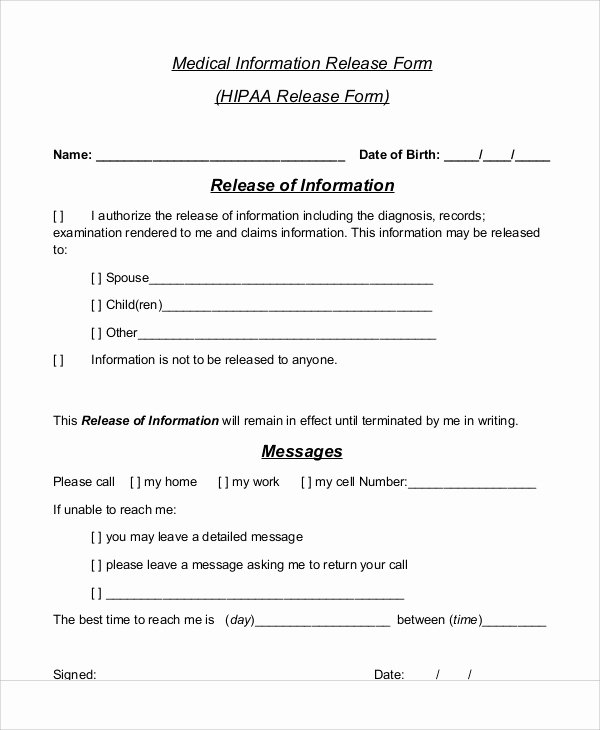 Release Of Information form Template New Sample Medical Information Release form 7 Examples In