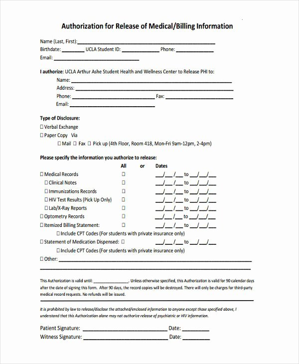Release Of Information form Template Unique Free 16 General Release Of Information form Templates
