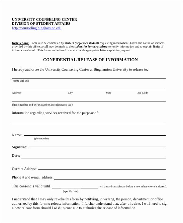 Release Of Information form Template Unique Sample Release Of Information form 12 Free Documents In Pdf