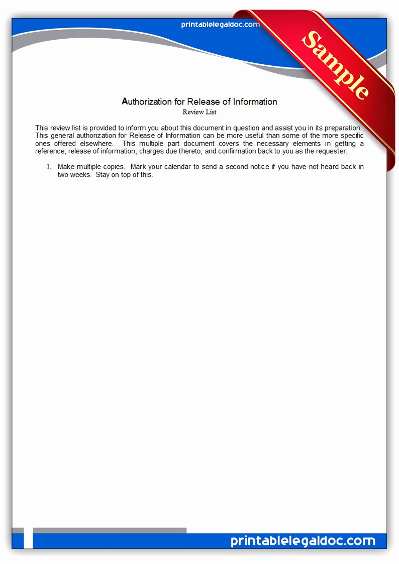 Release Of Information forms Template Awesome Authorization for Release Information form Free Printable