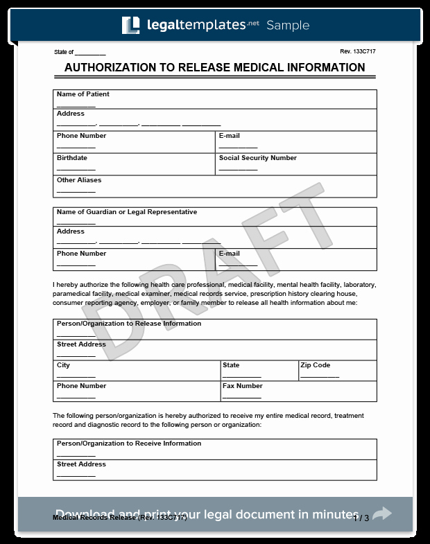 Release Of Information forms Template Best Of Medical Records Release form