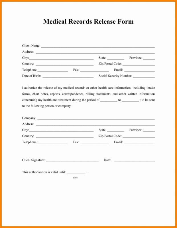 Release Of Information forms Template Elegant Medical Release form