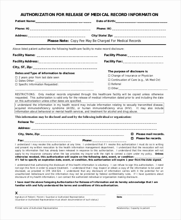Release Of Information forms Template New 10 Printable Medical Authorization forms Pdf Doc