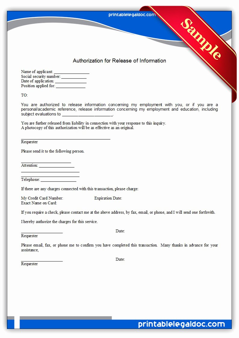 Release Of Information forms Template Unique Free Printable Authorization for Medical Treatment form