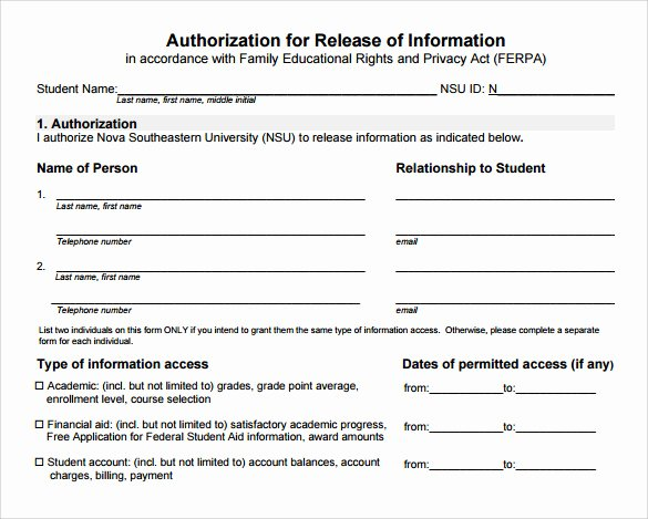 Release Of Information Template Awesome Sample Release Information form 8 Download Free