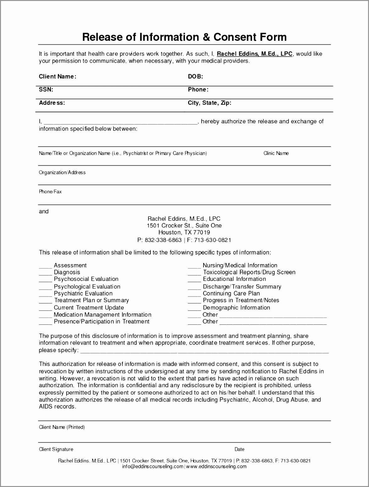 Release Of Information Template Best Of 5 Counseling Release Information form Template Oanir
