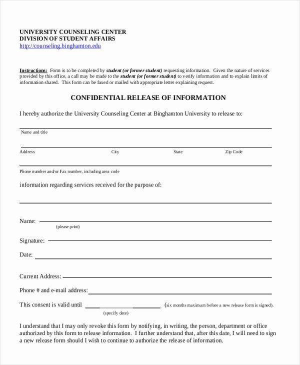 Release Of Information Template Elegant Sample Release Of Information form 12 Free Documents In Pdf