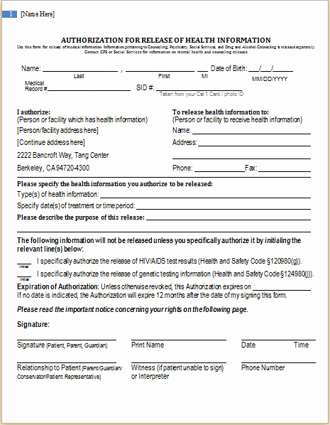 Release Of Information Template Fresh Health Information Release Authorization form