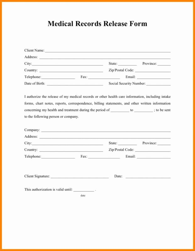 Release Of Information Template Fresh Release Medical Records form Template