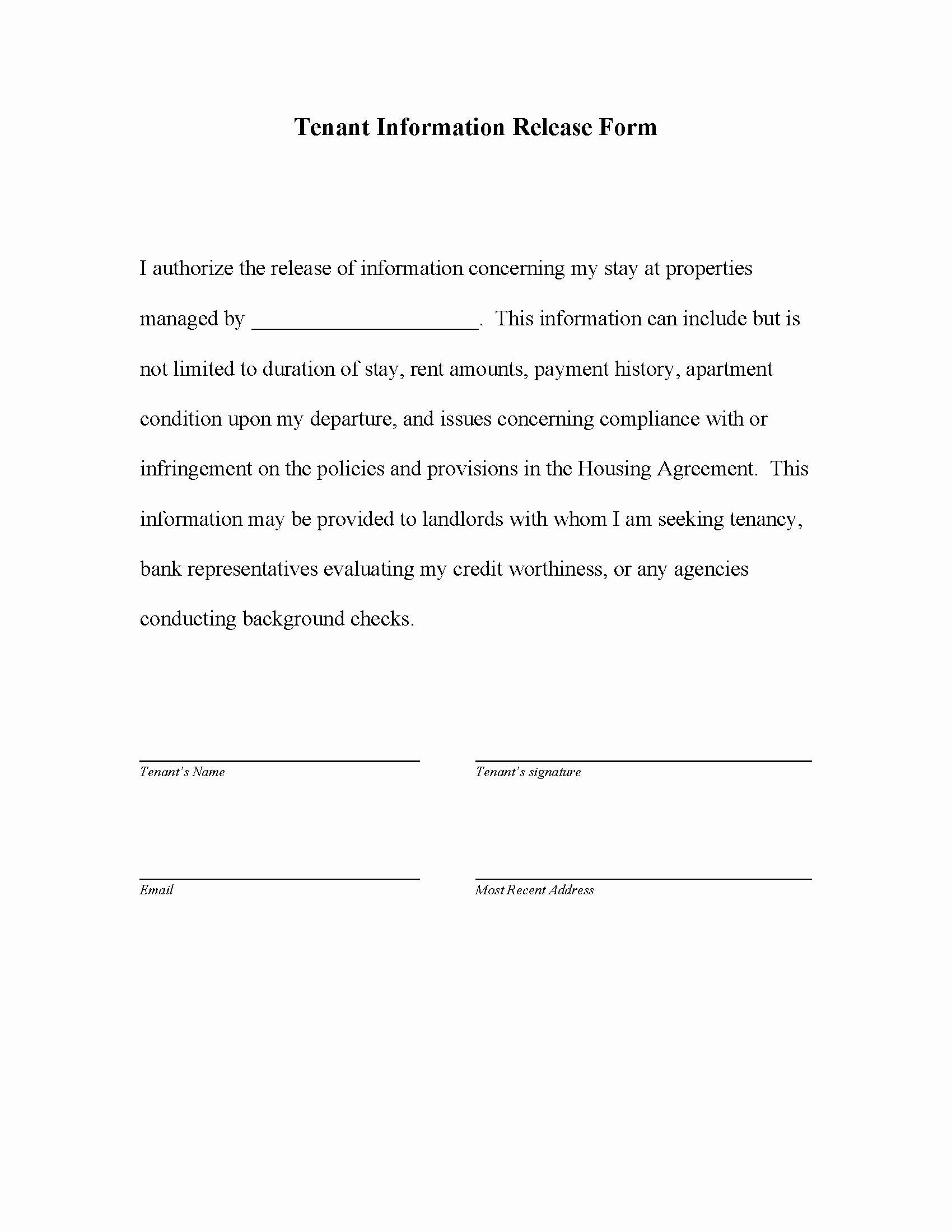 Release Of Information Template Inspirational Release form