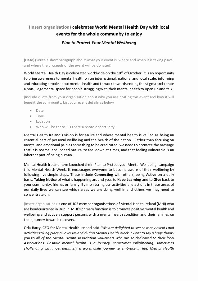 Release Of Information Template Inspirational World Mental Health Week Press Release Template