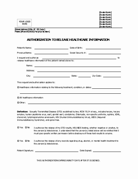 Release Of Information Template New Authorization to Release Healthcare Information form