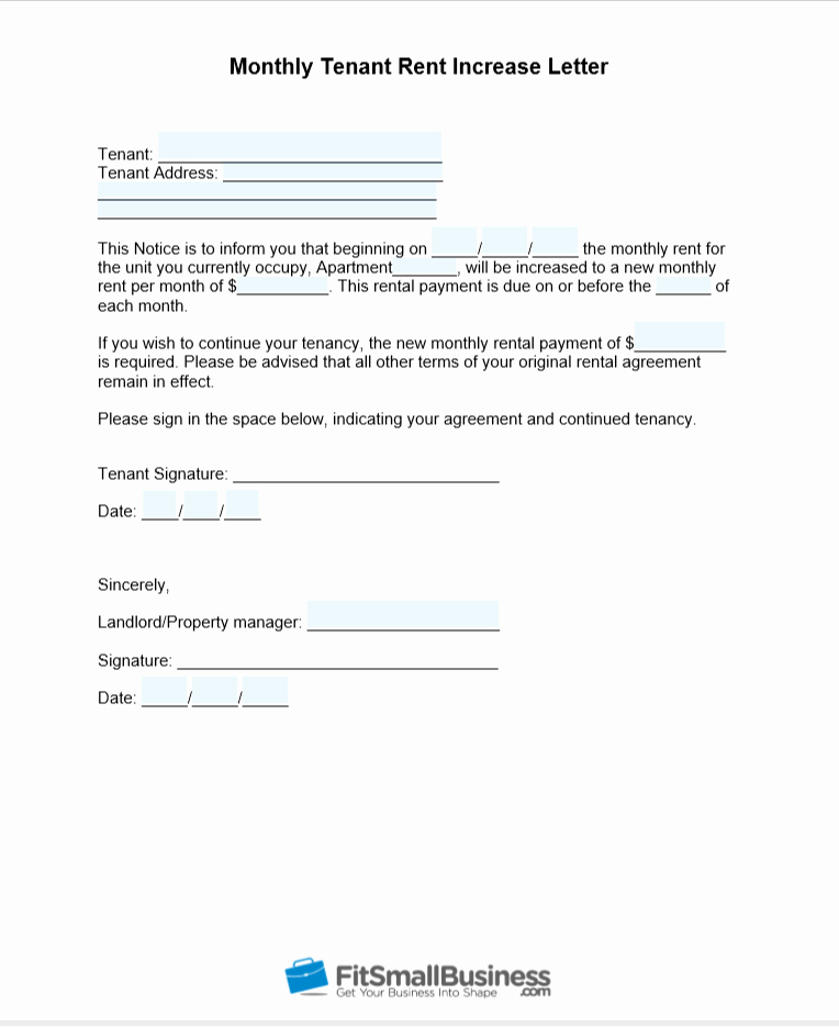 Rent Increase Letter Template New Sample Rent Increase Letter [ Free Templates]