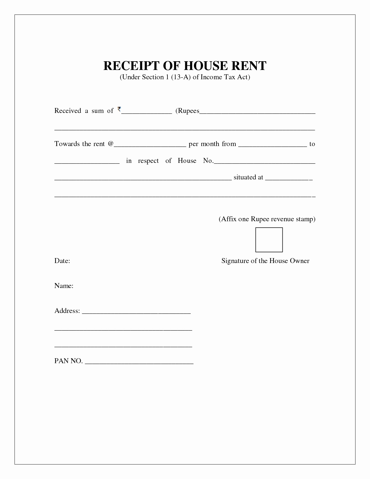 Rent Receipt Template Word Beautiful Free House Rental Invoice House Rent Receipt