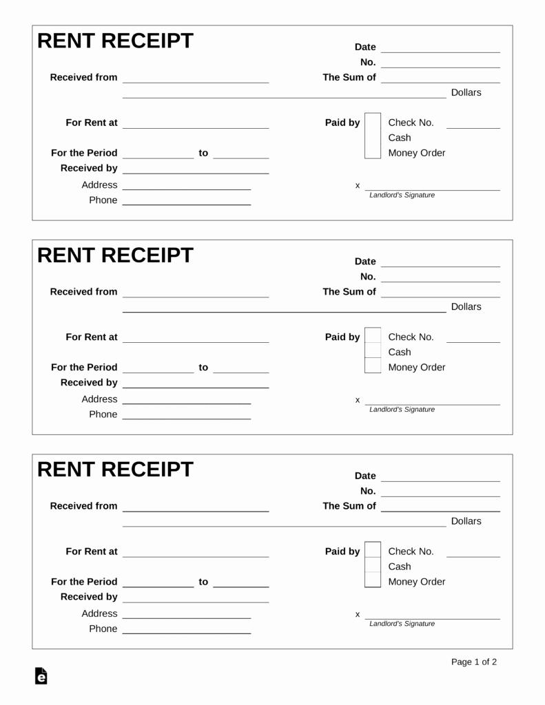 Rent Receipt Template Word Elegant Free Rent Receipt Template Pdf Word