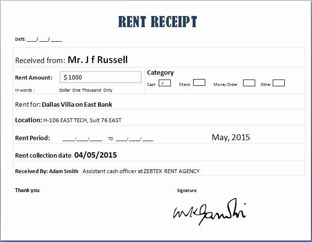 Rent Receipt Template Word Elegant Property Rent Receipt Templates for Ms Word & Excel