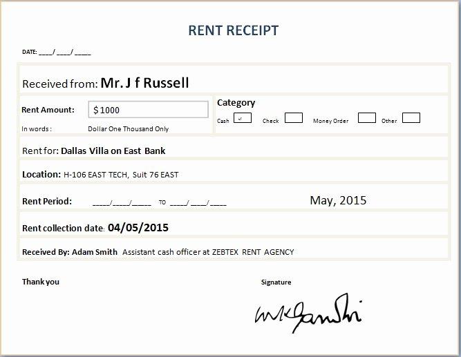 Rent Receipt Template Word Fresh formal Rent Receipt Template