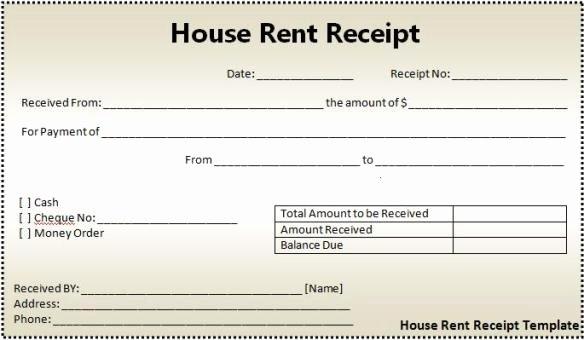Rent Receipt Template Word Luxury 16 House Rent Receipt format
