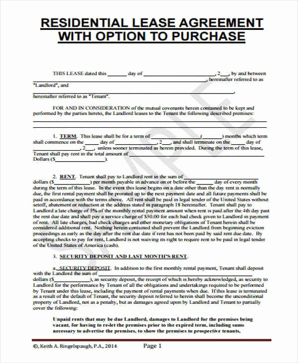 Rent to Own Contract Template Awesome 8 Rent to Own Home Contract Samples & Templates Pdf