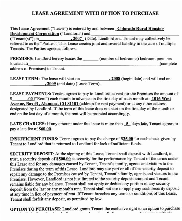 Rent to Own Contract Template Lovely Rent to Own Contract Template 9 Free Word Excel Pdf