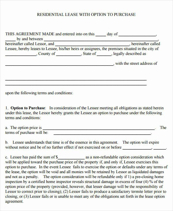 Rent to Own Contract Templates Awesome 9 Rent to Own Contract Samples & Templates Pdf Google