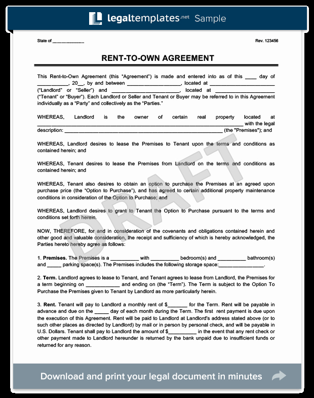 Rent to Own Contract Templates Awesome Rent to Own Agreement