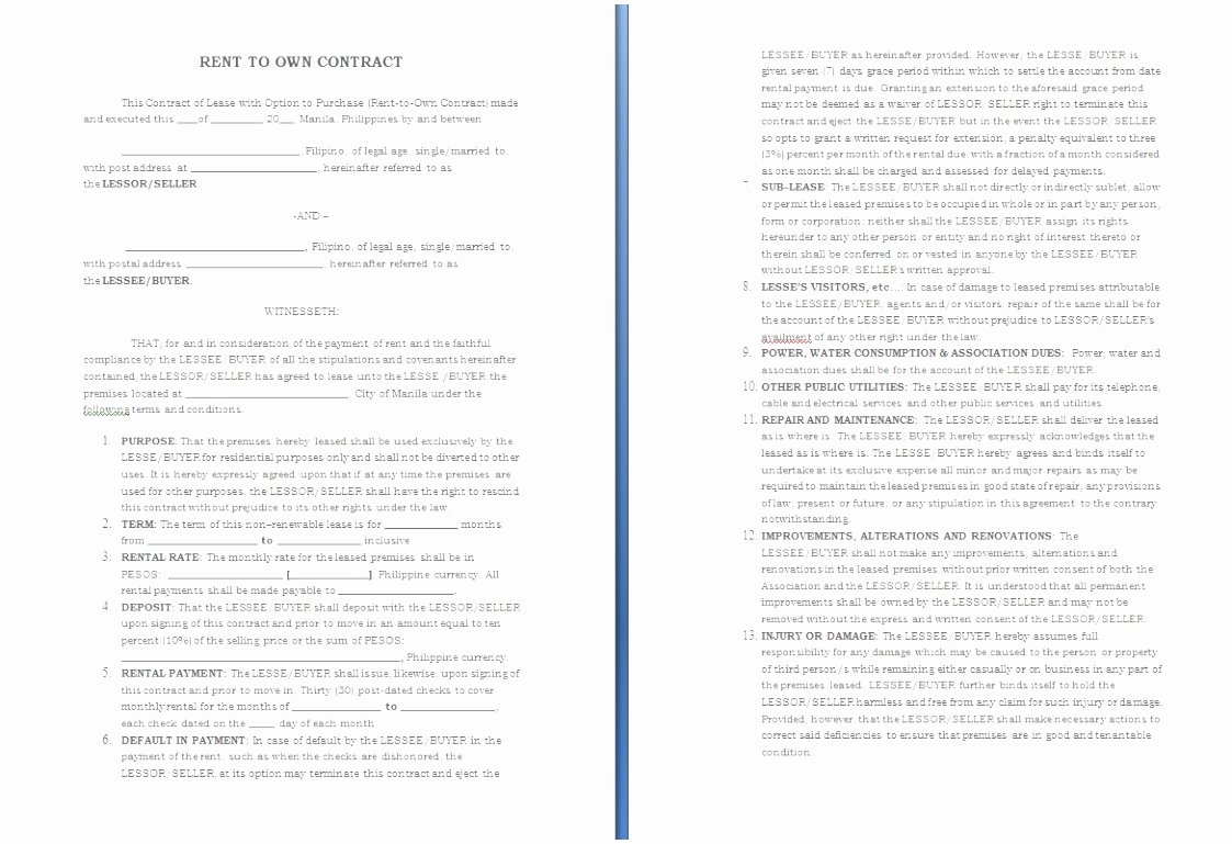 Rent to Own Contract Templates Elegant 5 Rent to Own Agreement Template Sriet