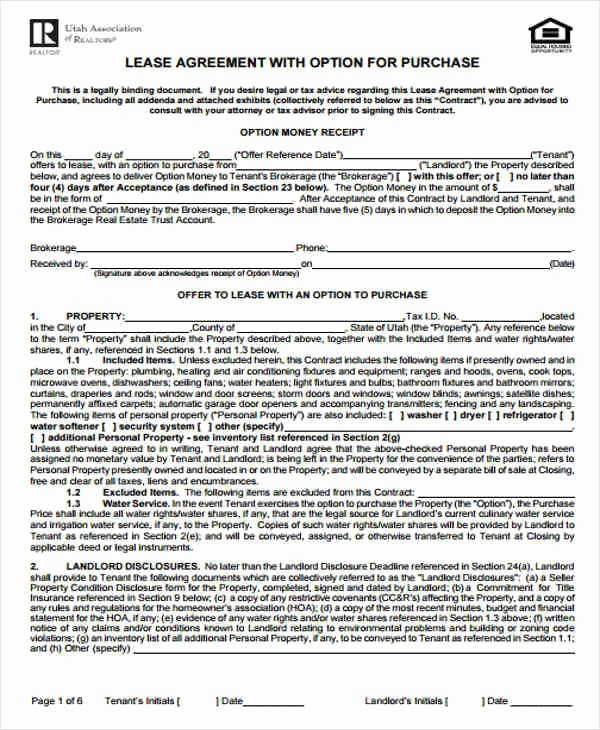Rent to Own Contract Templates Elegant 7 Rent to Own Home Contract Sample Templates Word