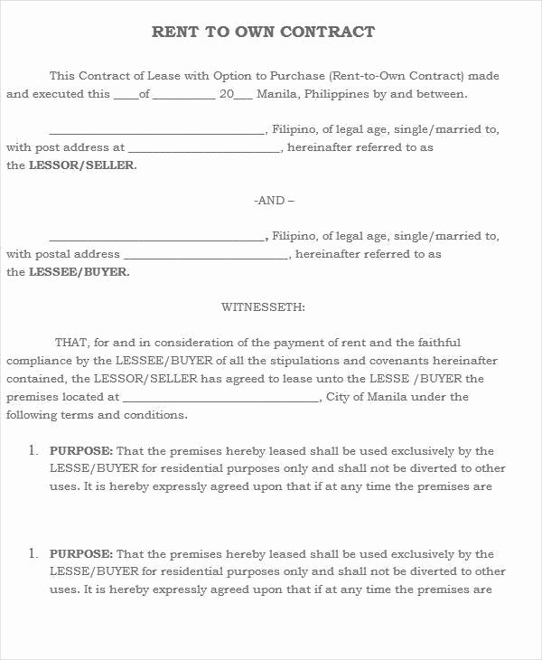 Rent to Own Contract Templates Inspirational 5 Rent to Own House Contract Samples & Templates Pdf