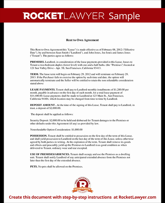 Rent to Own Contract Templates Inspirational Rent to Own Agreement Lease Template with Sample