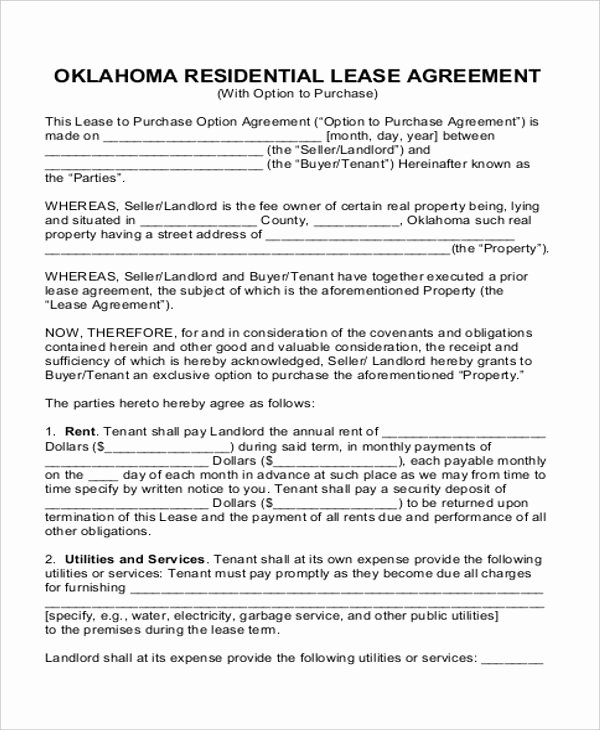 Rent to Own Contract Templates Inspirational Rent to Own House Contract 6 Examples In Word Pdf