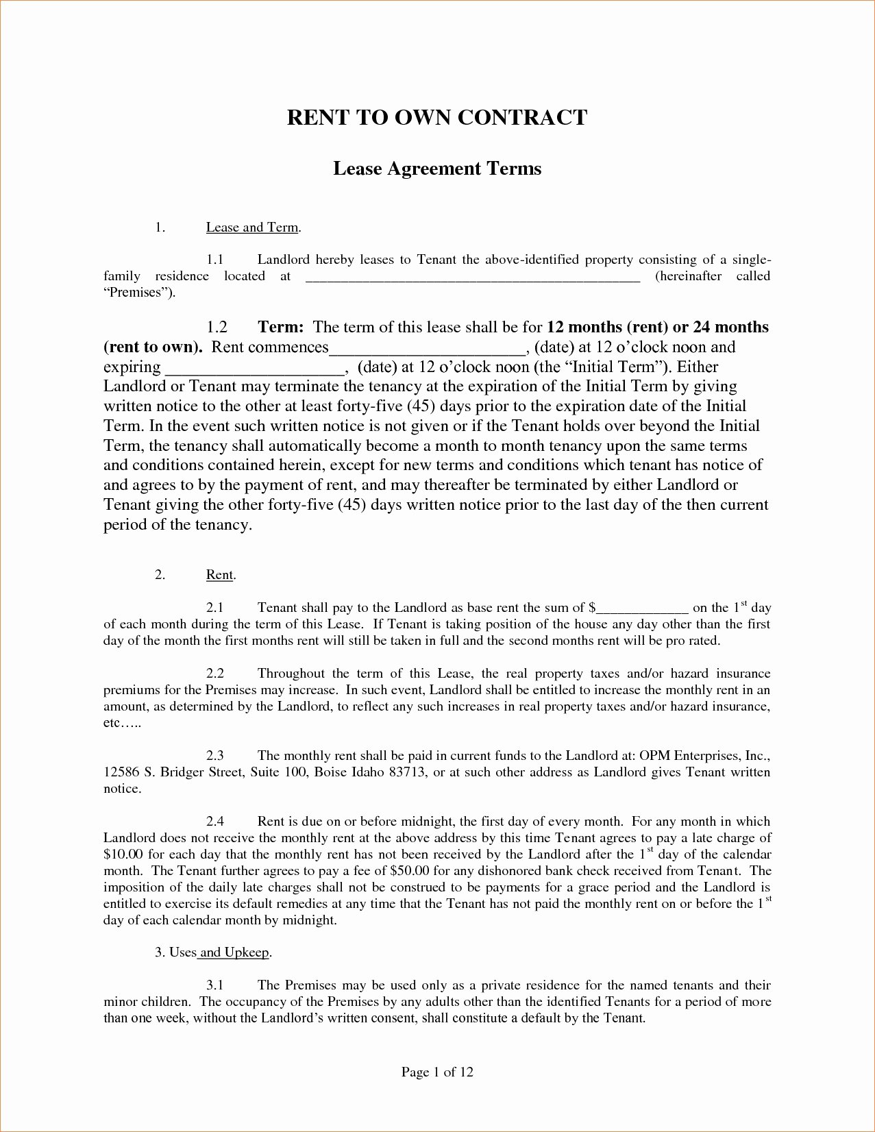 Rent to Own Contract Templates Unique 39 Excellent Rent to Own Property Agreement Template Mo